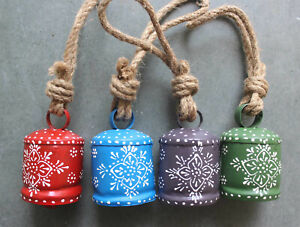 """Hand Painted Decorative Iron Tin Bells 3.5"""" H Indian Cow Bells Chimes Lot 4 Pcs"""