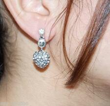 Crystal Silver Heart Earrings Awesome Bridal Clear Rhinestone