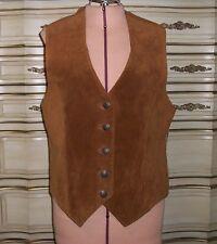 Casual Corner Vintage Women's Warm Brown Suede Vest Southwestern Back Small