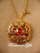 Russian Imperial Romanov double Eagle Gold & Ruby Pendant Necklace / Brooch