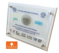 Personalised glass wall colour signage plaque.