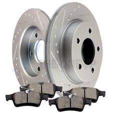 Rear Brake Rotors + Ceramic Pads Slot Kit Fits Mazda 3 2004 2005 2006 2007-2013