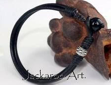7B-001 HANDMADE Gift Sterling Silver Leather Black Onyx Wristband Men Bracelet.