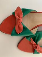 Django & Juliette Wedge Heels Red/Peach Green Size 38 7 8 with bow