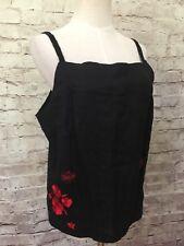 Harve Benard  Womens Sz 12  Black Mid Calf Linen Skirt & Camisole Set Red Floral