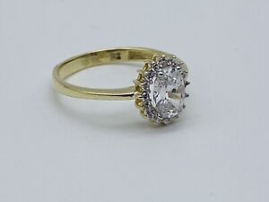 Solid Genuine 9ct Gold Diamond Halo Oval Cluster Engagement Ring Size n