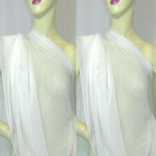 Meter 140cm W Pure silk Georgette Chiffon Fabric OFF WHITE#OFF WHITE +SQ Button