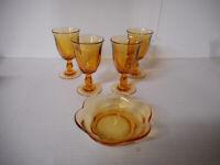 Tiffin Duncan Miller 4 Desert Red Canterbury Wine Glasses Plus Small Bowl