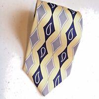 NWT Tom James Men's Silk Tie Yellow w/Blue & gray  MSRP $30  Mens Gift  #H