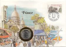 superbe enveloppe FRANCE PARIS pièce monnaie 2 FRANCS 1979 UNC NEW timbre