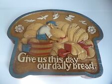 "Burwood ""Give Us This Day Our Daily Bread"" Wall Plaque Usa Homco Home Interior"