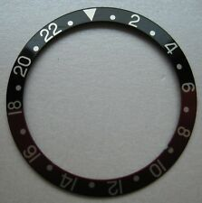 GENUINE ROLEX PART GMT MASTER BEZEL INSERT RED & BLACK w SILVER NUMBERS USED