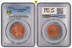 1961(p) AUSTRALIA 1/2 PENNY PCGS MS64RB OLD COIN IN HIGH GRADE