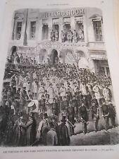 Gravure 1868 - Les pompiers de New York Billiard Room