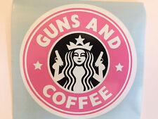 Guns And Coffee Car Bumper Sticker Decal Vinyl Funny Pink Starbucks