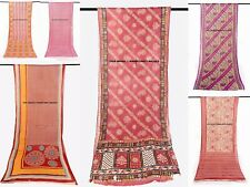 Lot Of 5 Vintage Indian Saree Pure Cotton Fabric Craft Used Art Multicolor Sari