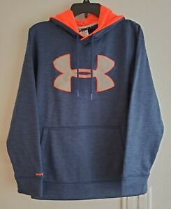 Under Armour Storm1 Pullover Hoodie Blue Orange Loose Mens Small Preowned