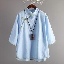 Women Linen Loose T Shirt Blouse Vintage Frog Button Mandarin Collar Top Chinese