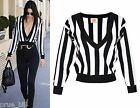 Cropped Striped Jumper Monochrome Mono Plunge Low V Neck Sexy Kendall Jenner