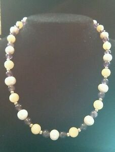 Freshwater Pearl Yellow Jade Amethyst Beaded Stone Sterling Silver Necklace 19in