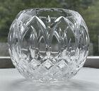 Lead Crystal Round Globe Shaped Bud Flower Vase Diamond Cut Waterford ? Exc