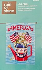 """New listing Large Porch Flag, """"America"""" Patriotic Watering Can With Flags Free Shipping New!"""