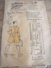 """ANCIEN PATRON""""LES PATRONS JEUNESSE BLOUSE D'ECOLIER TAILLE 11 A 13 ANS (36)"""