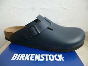 Birkenstock Boston Clogs Mules Blue Real Leather 060153 New