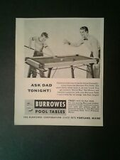 1955 Burrowes Billiard/Pool Tables Indoor Games Sporting Goods Type 1 Promo AD