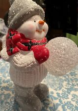 Ceramic Snowman With Color Changing Snowball 10� High