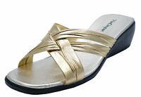 LADIES GOLD OPEN-TOE SLIP-ON MULES SLIDER LOW-HEEL COMFY SANDALS SUMMER SHOES