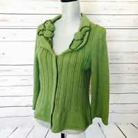 Cabi Cardigan Sweater Style #871 Green Rosette Ribbed Knit Cardigan Size Small