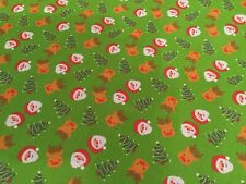 Fabric Christmas Remnant Santa Rudolph Christmas Tree 55 X 45cm New Green