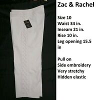 Zac & Rachel Size 10 Optic White Pull On Elastic Waist Very Stretchy Pants New
