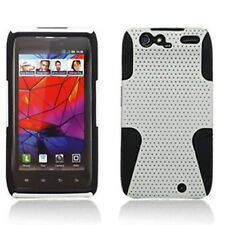Motorola DROID RAZR MESH HYBRID Hard Rubber Skin Case Phone Cover White Black