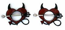 Nipple Ring Shield Piercing Jewelry Devil Horns Pitchfork 14 gauge sold as pair