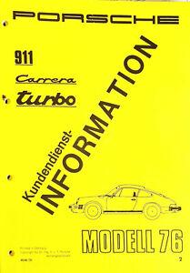 KUNDENDIENST INFORMATION MODELL 1976 PORSCHE 911 CARRERA TURBO NR. 4546.10
