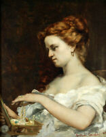 Woman with Jewellery Gustave Courbet Fine Art Print on Canvas Reproduction Small