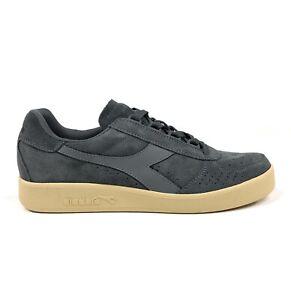 Diadora B Elite Suede Mens 12 Steel Gray Low Skateboarding Shoes Sneakers Casual