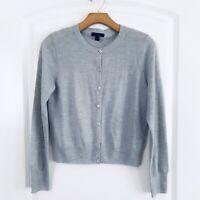 J Crew Jackie Wool Cardigan Size Medium Ice Blue Button Sweater