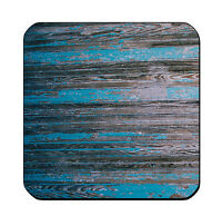 4 DRINK COASTERS - Wood #SN6 Teal Turquoise Black glossy wood bar country