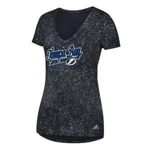 "Tampa Bay Lightning NHL Adidas Women's Black ""Open Script Tail"" V-Neck T-Shirt"