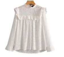 White Embroidered Eyelet Long Sleeve Ruffle Top