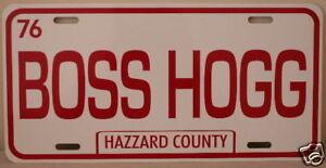 DUKES OF HAZZARD BOSS HOGG METAL LICENSE PLATE FITS CADILLAC NOVELTY GARAGE