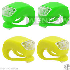 2 Pair (4 Pcs) Ultra Bright Waterproof Silicon LED Bike Light (Yellow and Green)