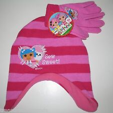 Lalaloopsy Winter Hat & Gloves Set Girl's New Pink Striped Sew Sweet