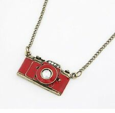 Retro Vintage Old Photography Kitsch CAMERA Red Jewellery Necklace + Gift Bag