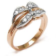 Russian Jewelry 14k Rose Gold Genuine G-VS2 Diamond Ring.