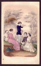 1850s Original Antique Victorian Children Clothing Fashion Color Art Print