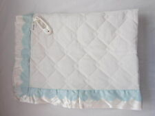Vintage Lullaby Quilted Baby Blanket Satin Edge White Blue Scallops + Rattle